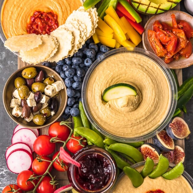 top view of veggie and hummus board