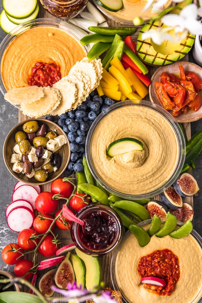 a top view of a Hummus and Vegetable Board