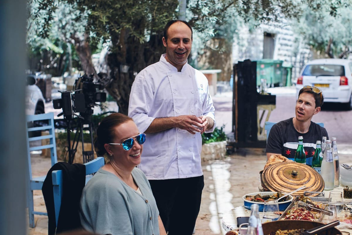 talking with a chef in Israel