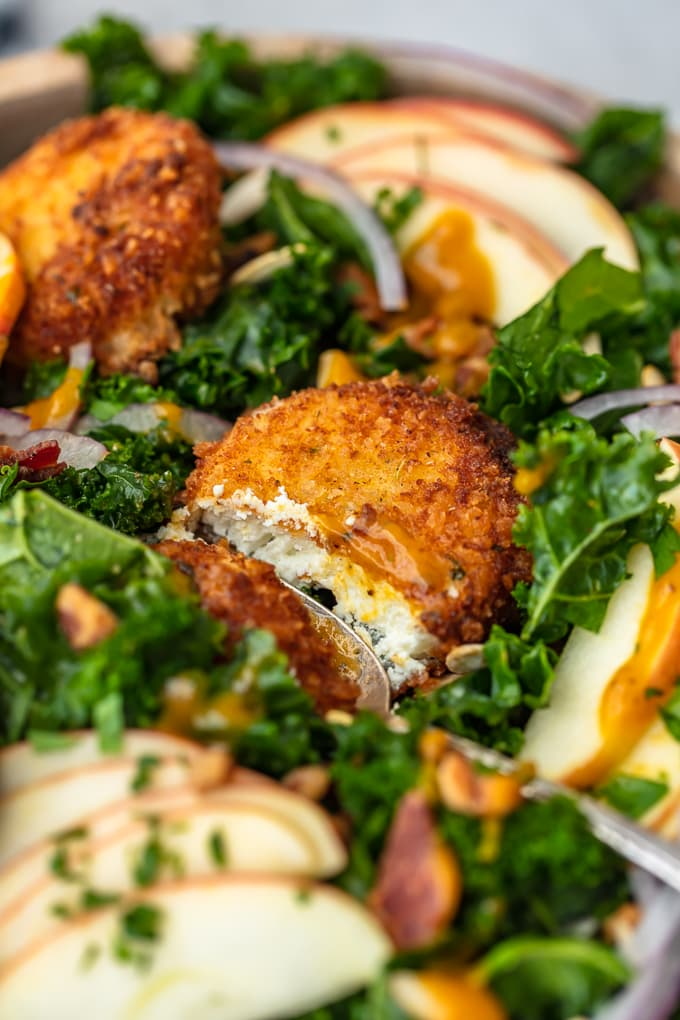 Mix of kale, apples, and onions, with fried goat cheese discs