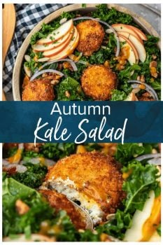This Autumn Kale Salad recipe is the salad of the season! Made with kale, apples, onions, pumpkin seeds, bacon, fried goat cheese and a maple pumpkin salad dressing, it is the perfect fall salad idea. This delicious kale apple salad makes a tasty and healthy meal you'll want to eat all season long!