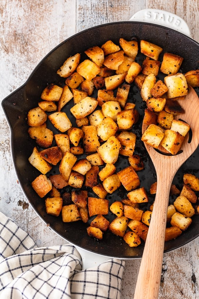 Fried croutons in a skillet