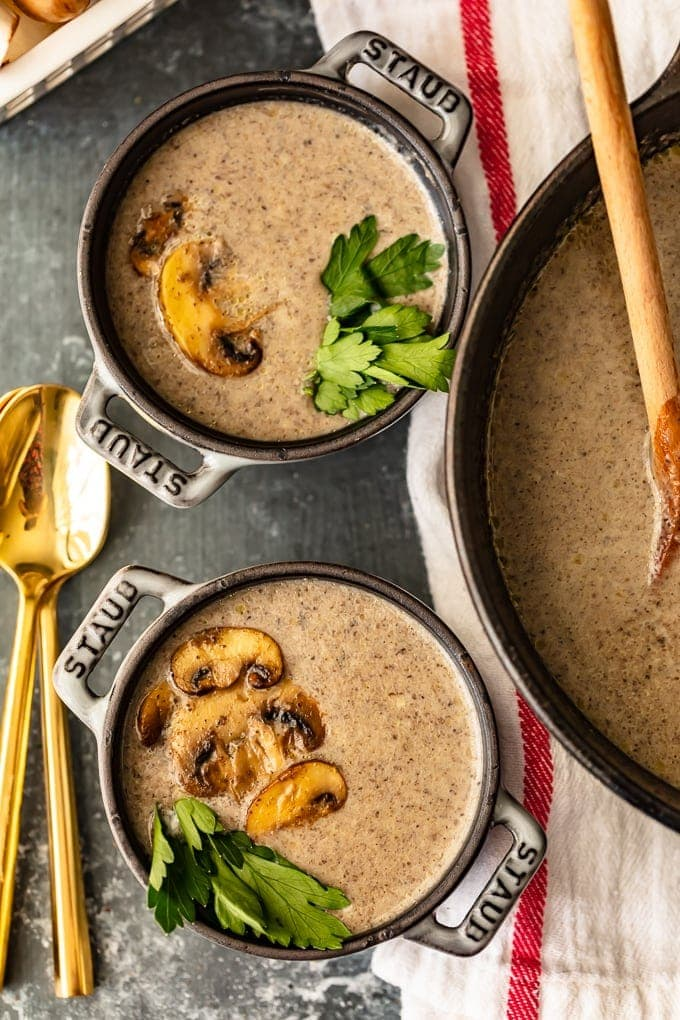 Homemade Cream of Mushroom Soup recipe in two bowls