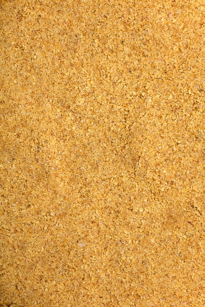 close up view of graham cracker crust