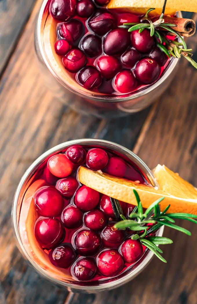 Spiced cider with cranberries and cinnamon