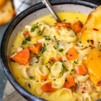 Macaroni Soup is about to be your new favorite comfort food! I've combined delicious, creamy soup with cheeeesy macaroni and cheese to create the perfect dish: Chicken Mac and Cheese Soup. You're going to want to eat a bowl of this every day!