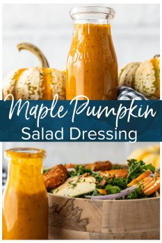 Maple Pumpkin Salad Dressing is the best autumn salad dressing recipe! Nothing says fall like pumpkin, and a bit of maple adds a rich flavor to it. This homemade salad dressing goes with all of your fall salad ideas, and it's the perfect kale salad dressing!