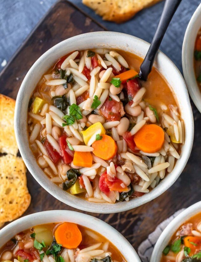 Minestrone Soup is the perfect soup for winter! It's hearty, delicious, and so easy to make. This is the best minestrone soup recipe, made with Orzo and crispy Pancetta. Yum!