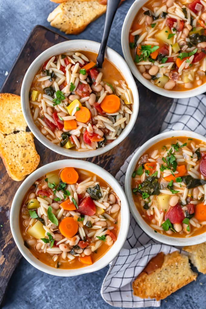 four bowls of the best minestrone soup recipe