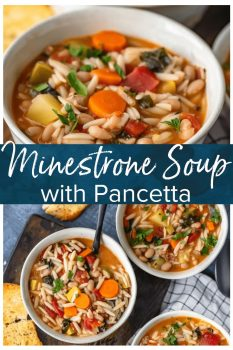 Minestrone Soup is the perfect soup for winter! It's hearty, delicious, and so easy to make. This is the best minestrone soup recipe, made with Orzo and crispy Pancetta.