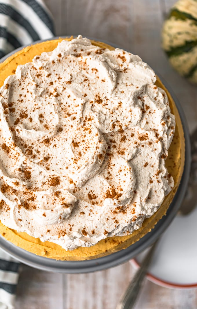 pumpkin cheesecake viewed from above, topped with a layer of pumpkin spice whipped cream