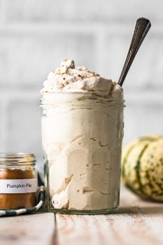 Pumpkin Flavored Whipped Cream is exactly what we all need for fall! Top of all of your favorite desserts (pumpkin pie, pumpkin cheesecake, pumpkin anything) with this Pumpkin Spice Whipped Cream recipe.