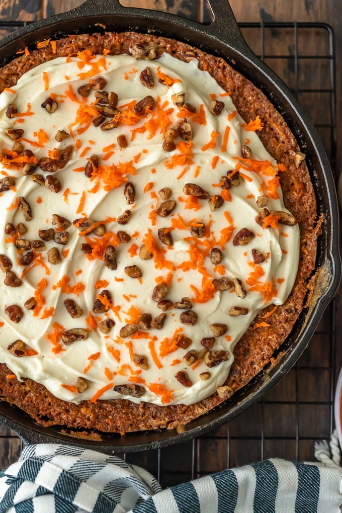 Easy carrot cake recipe in a skillet, viewed from above