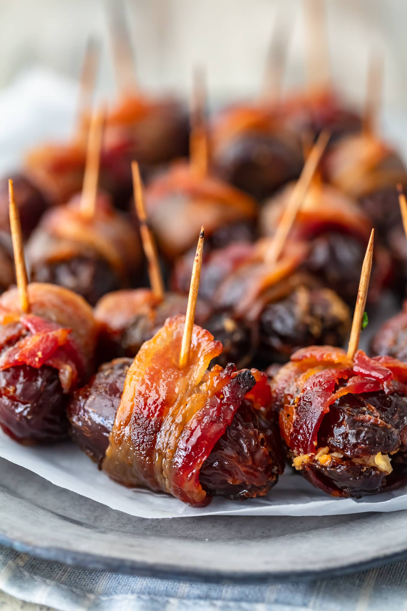 bacon wrapped appetizers on a plate