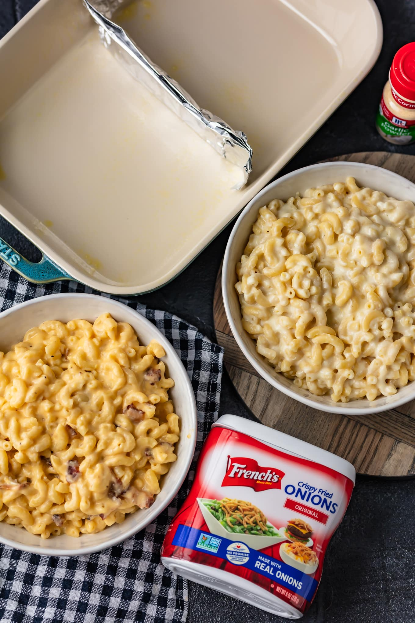 ingredients for making baked mac and cheese casserole step by step shots