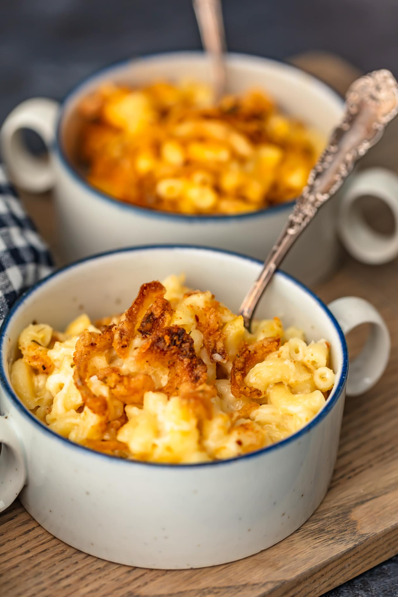 plated baked mac and cheese