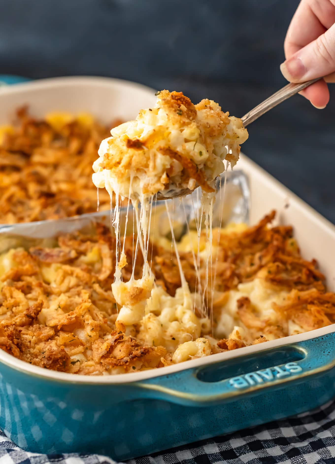 cheese pull shot on baked mac and cheese recipe