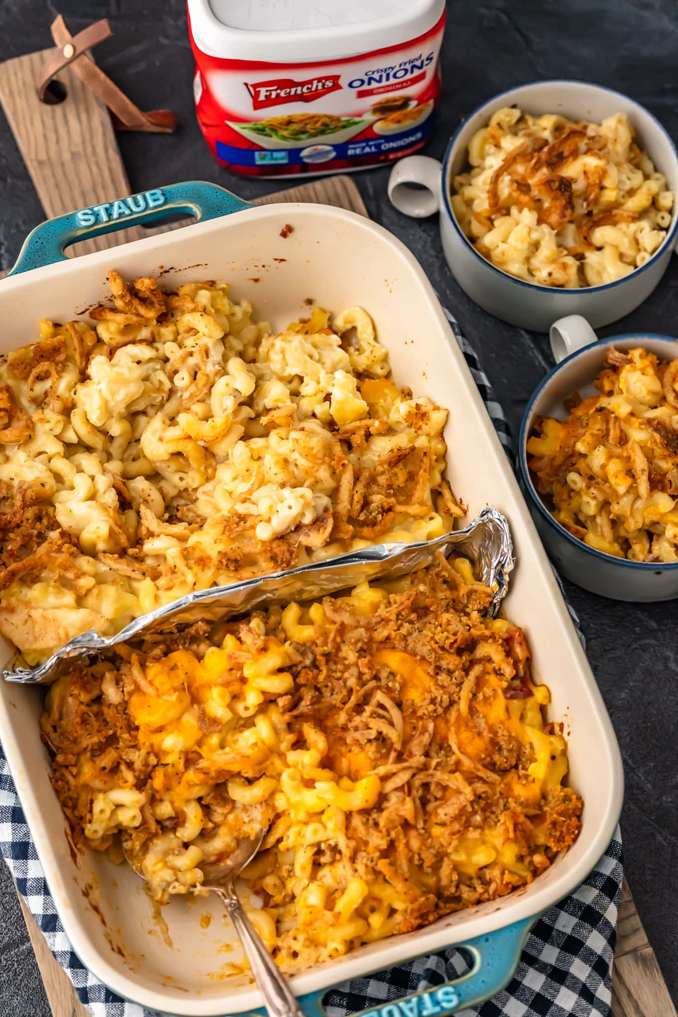 baked mac and cheese two ways in baking dish