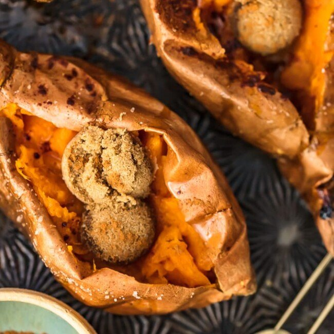 The Perfect Baked Sweet Potato is easy to achieve. So if you're wondering how to bake sweet potatoes, then you've come to the right place! Find out how long to bake sweet potatoes, plus my favorite SIMPLE way to eat them (with butter and cinnamon sugar!).