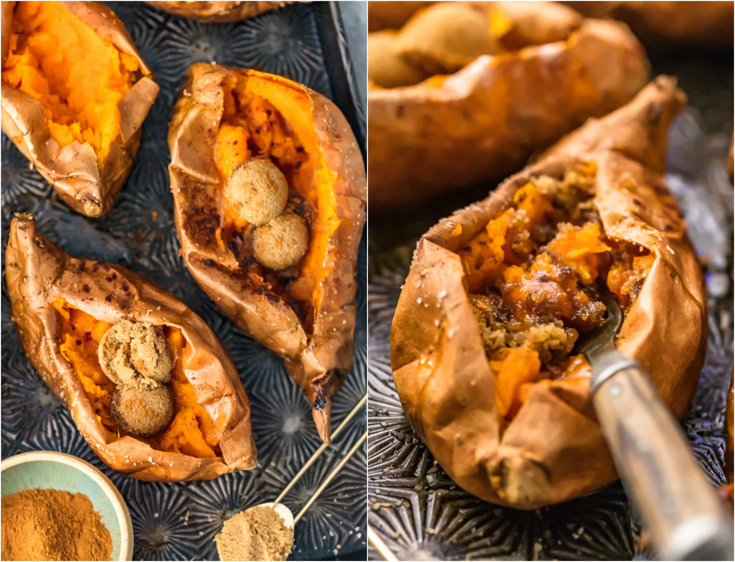 photo collage: baked sweet potatoes with cinnamon sugar