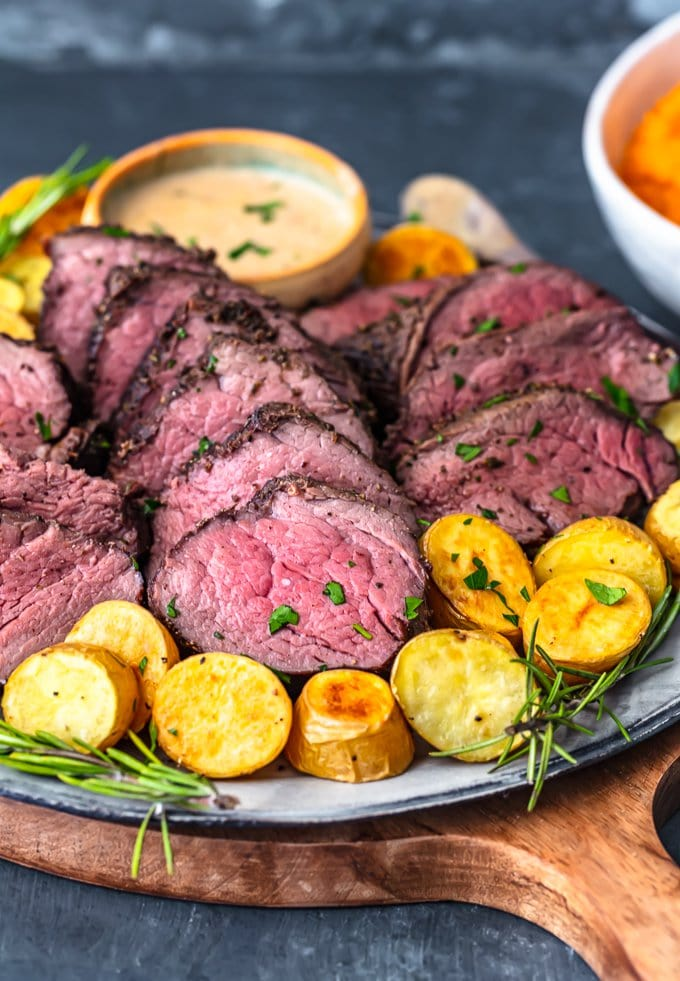 a plate of beef tenderloin roast