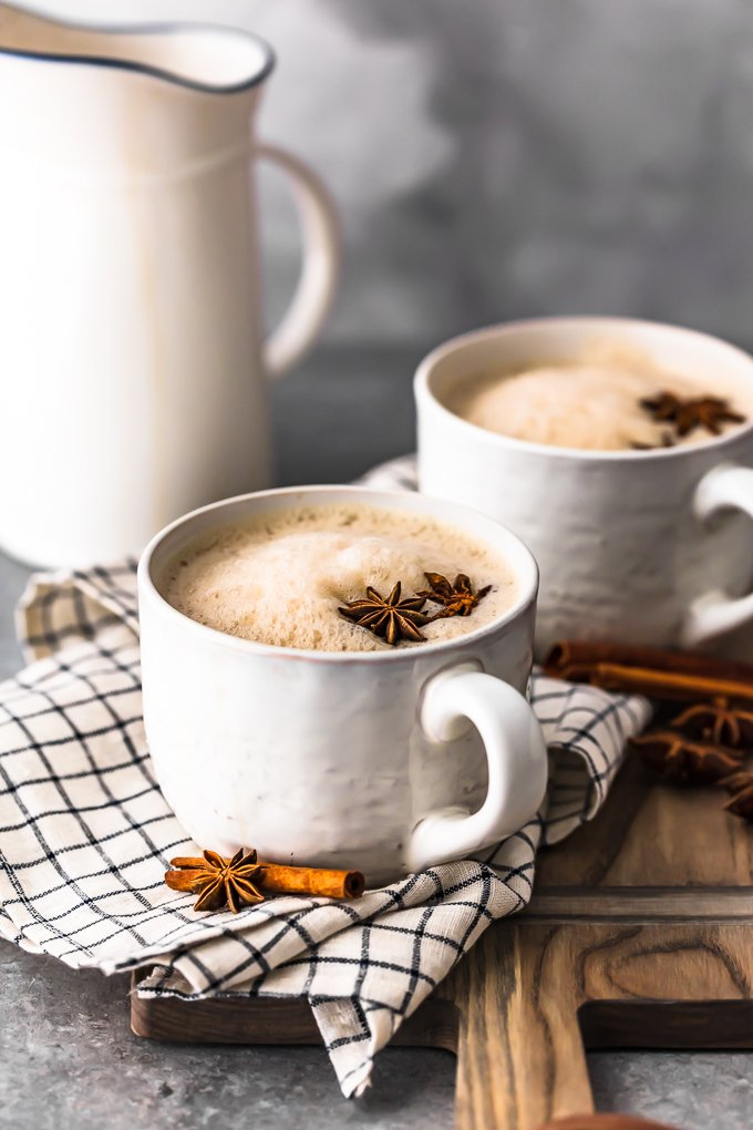 two mugs of spiked chai