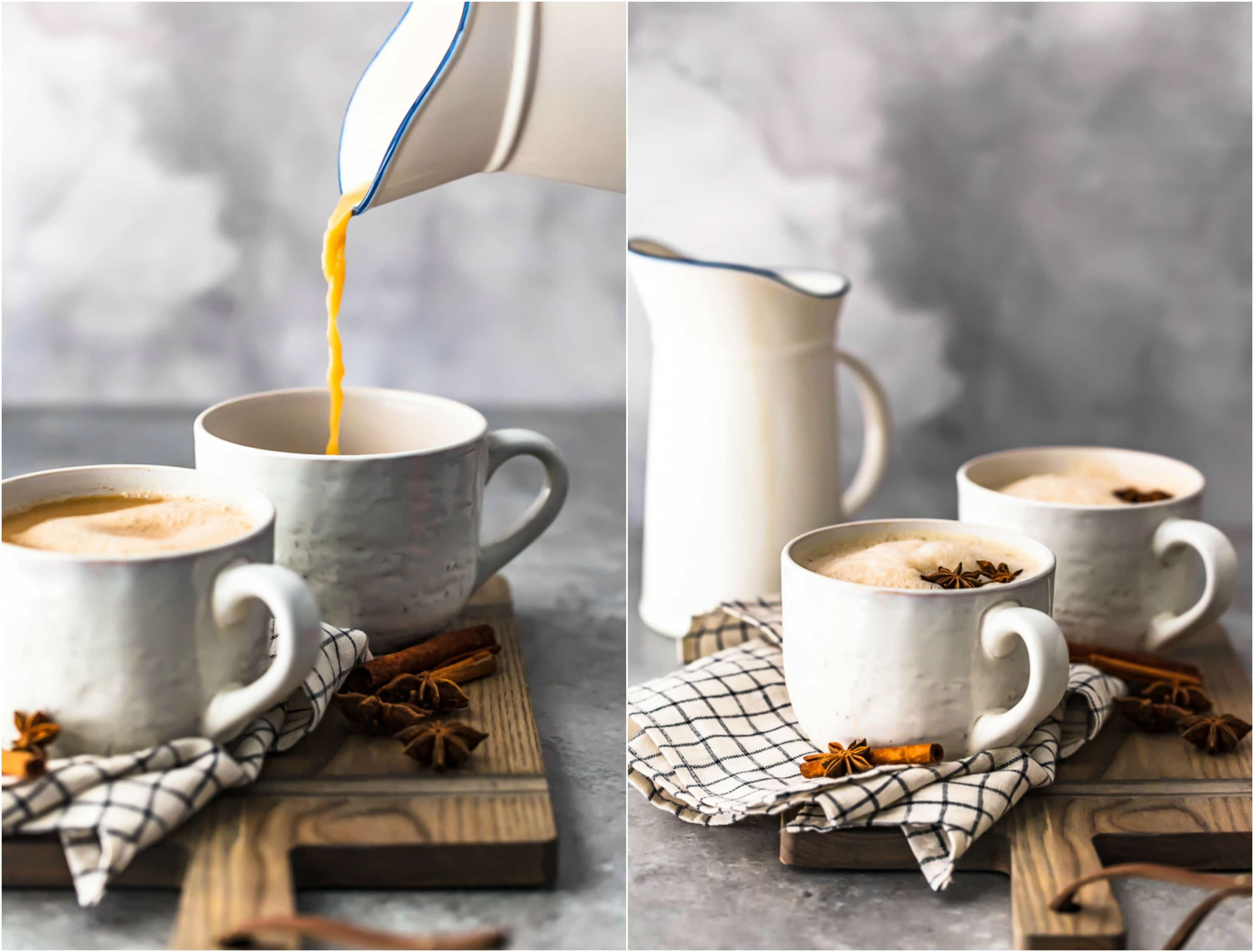 photo collage of chai tea in two white mugs