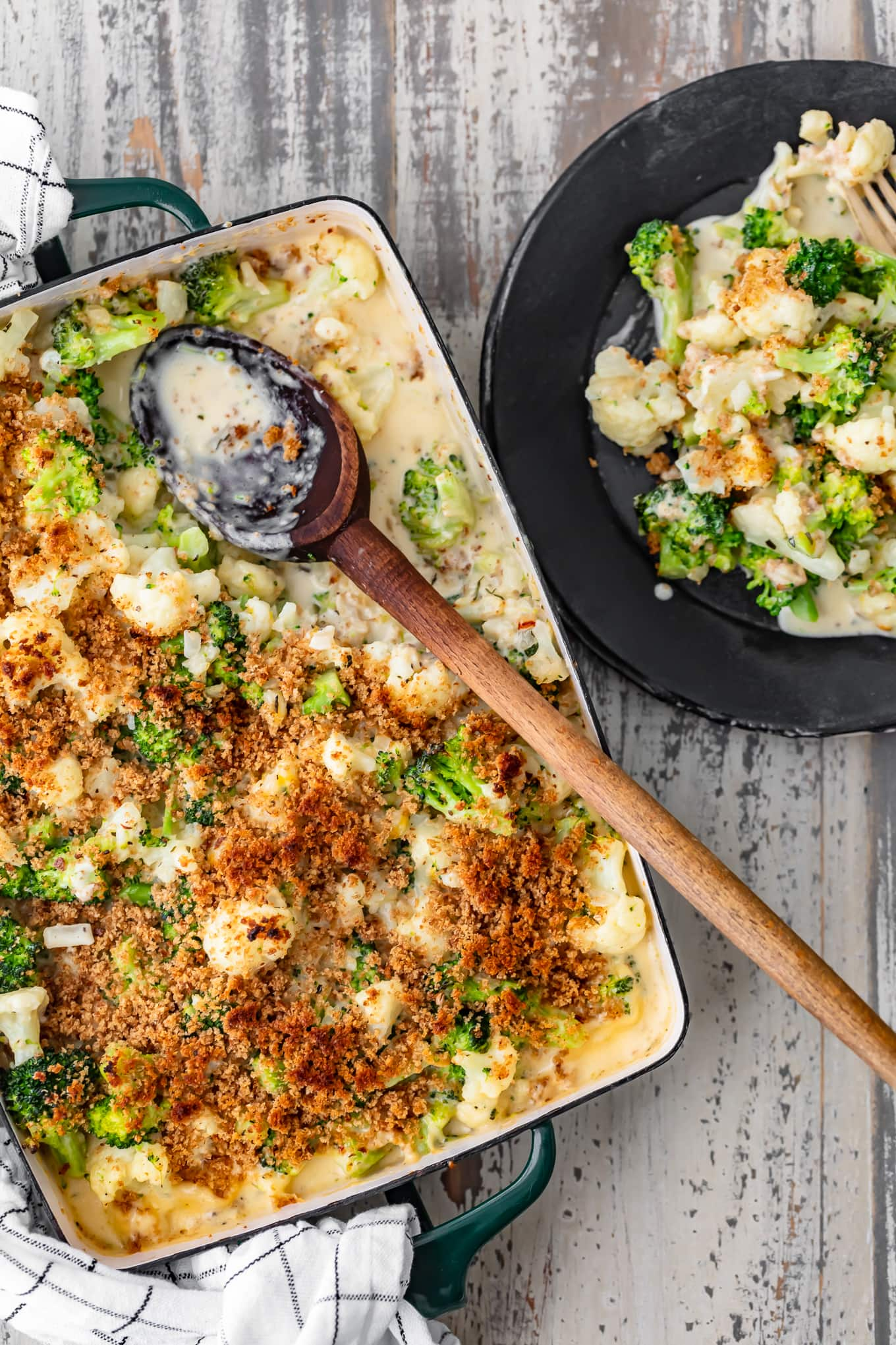 overhead view of cauliflower broccoli au gratin