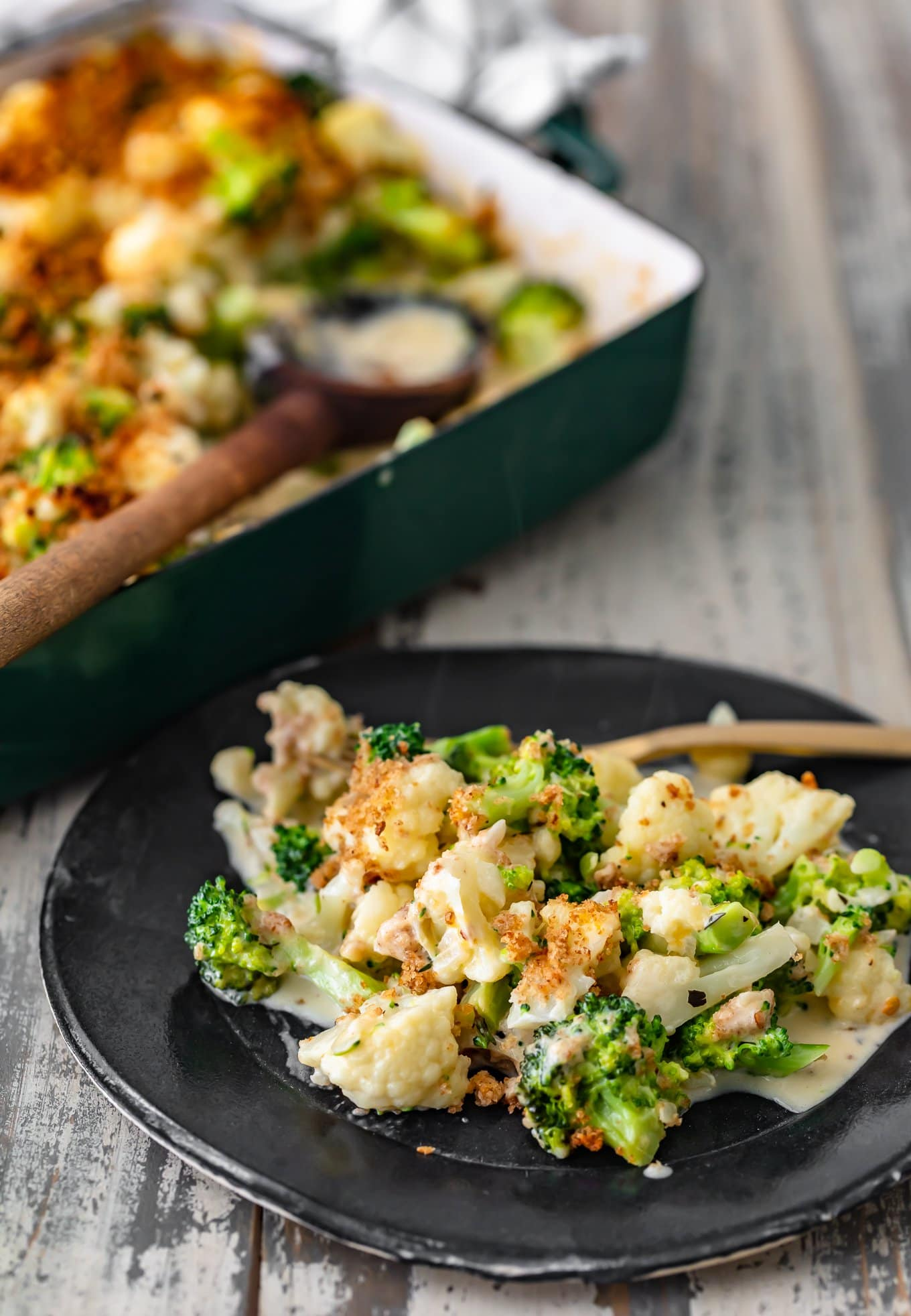 a plate of cauliflower broccoli gratin
