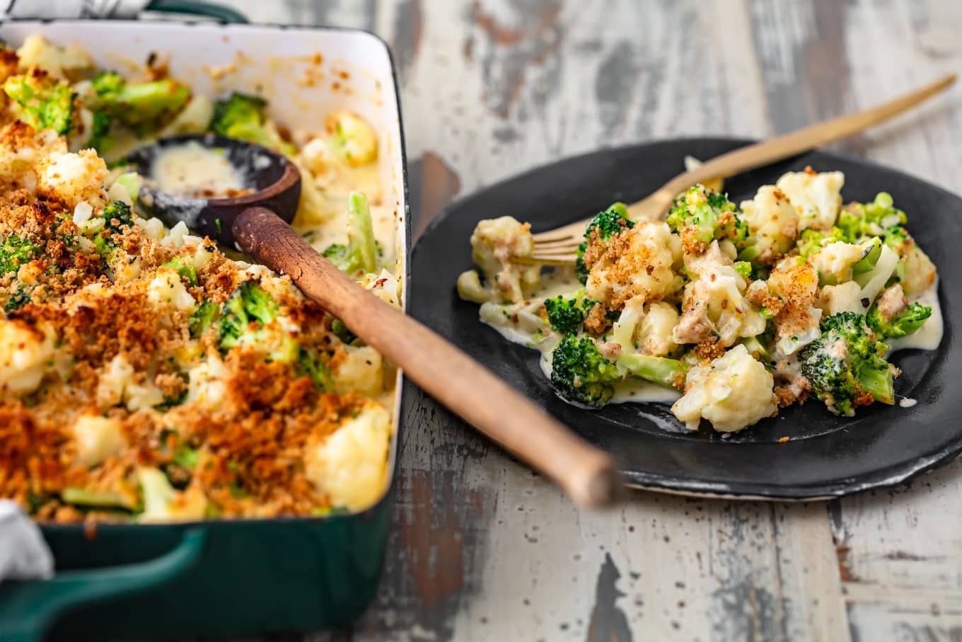 a plate of broccoli cauliflower casserole next to a full casserole dish