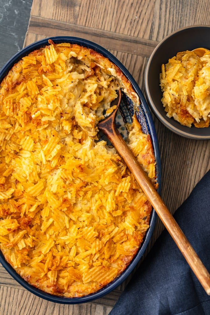 overhead shot of cheesy potato casserole