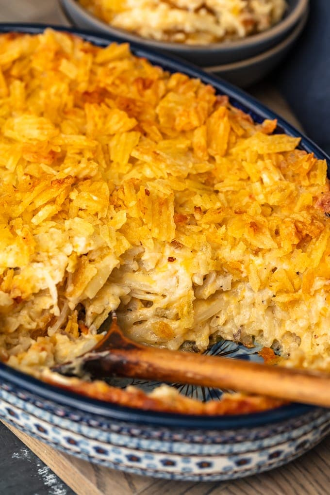 cheesy potato casserole topped with potato chips
