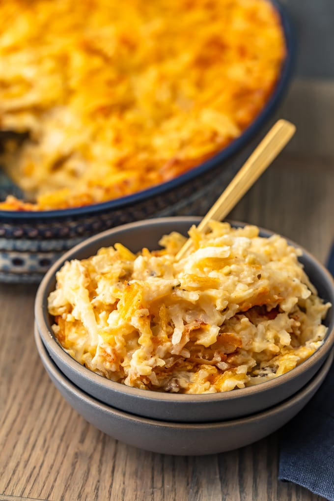 bowl of cheesy potatoes