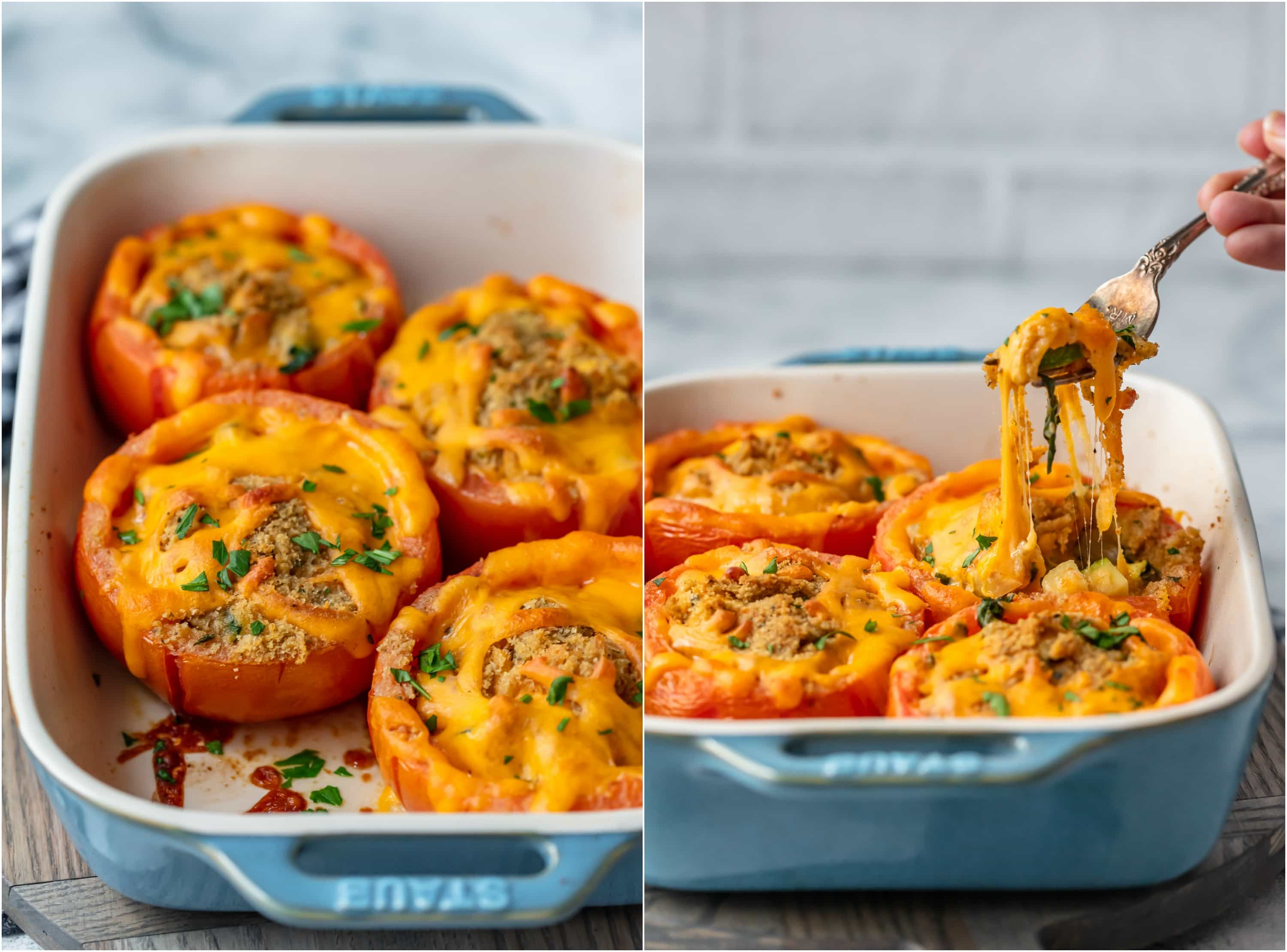 photo collage of stuffed tomatoes on baking dish with fork pulling up cheese