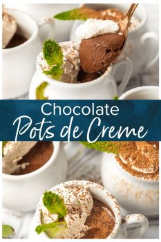 Chocolate Pot de Creme is the perfect holiday dessert. It's simple, it's delicious, and it's so cute. These little pots de creme are rich and chocolatey, with the most amazing texture. I love these as Christmas and holiday desserts!