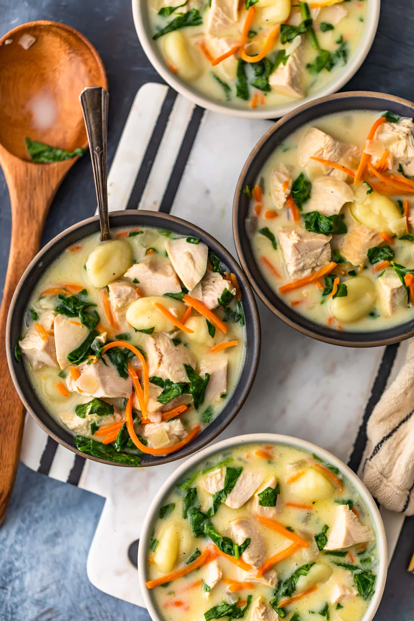 chicken gnocchi soup with carrots and spinach