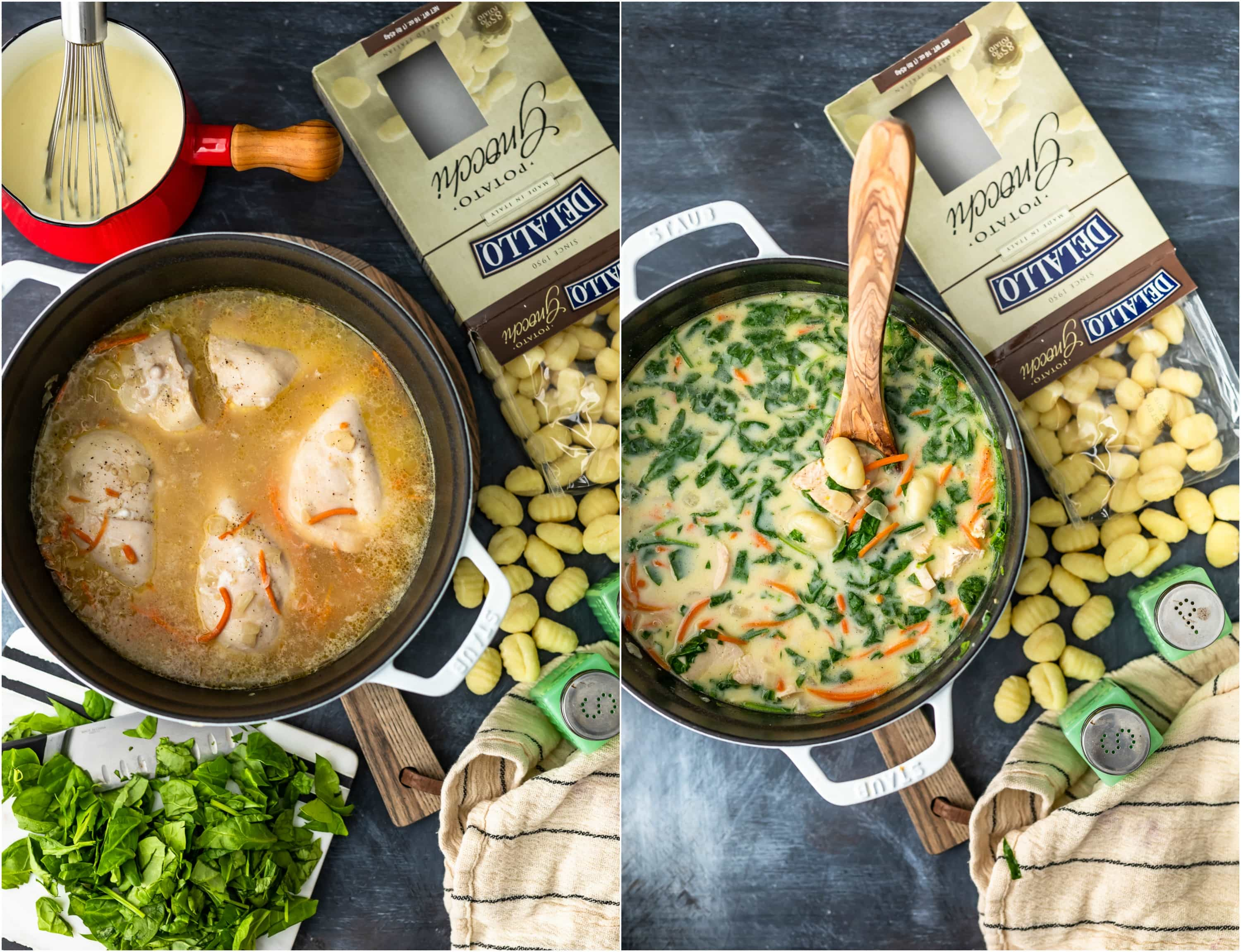 photo collage of chicken soup cooking in a pot, next to a box of gnocchi