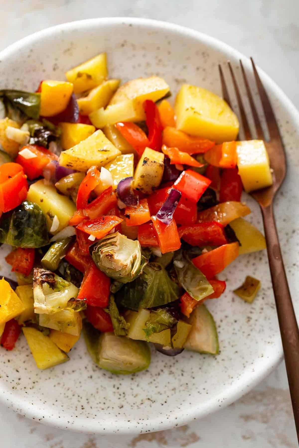 close up on a plate of roasted veggies
