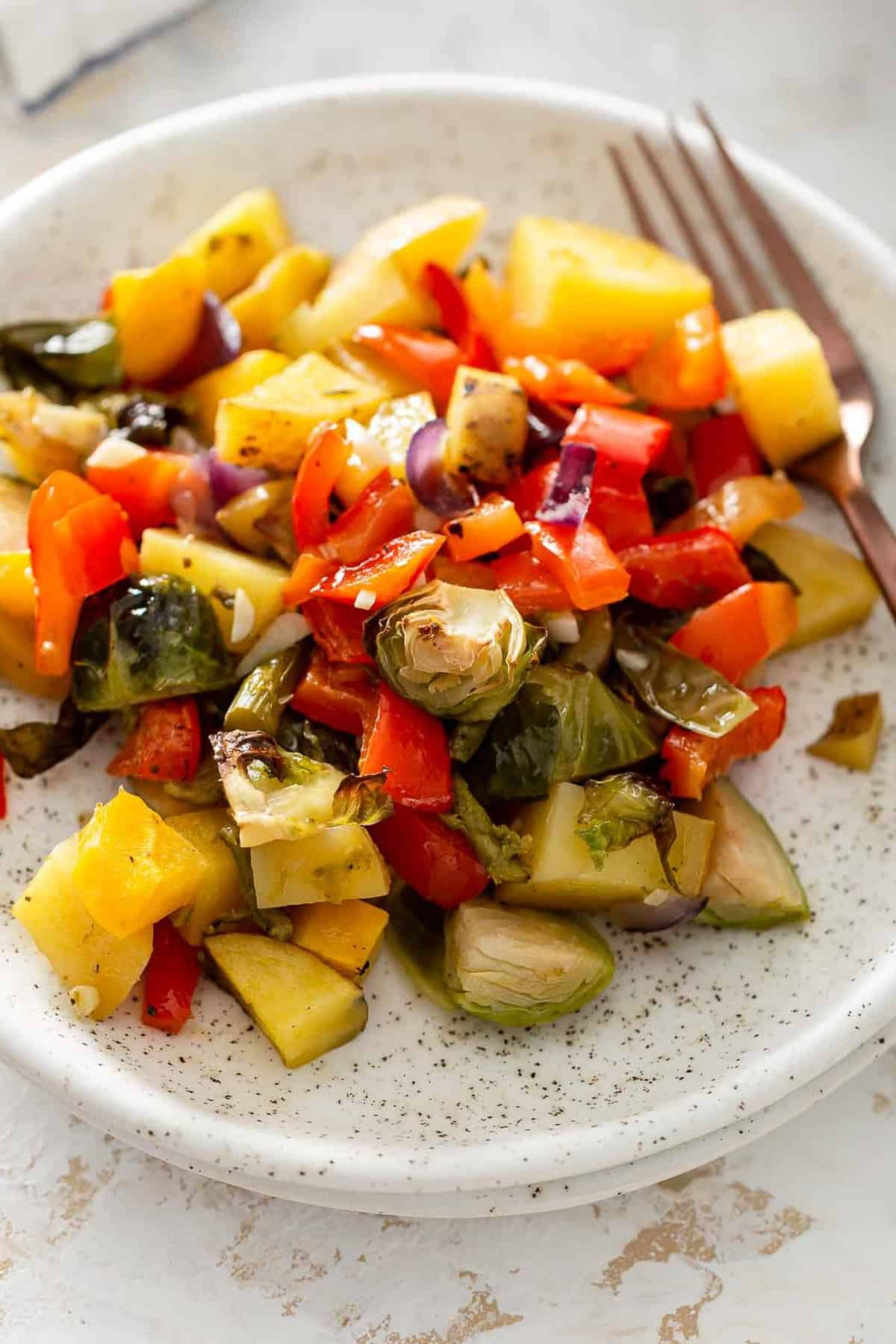 oven roasted vegetables on a plate