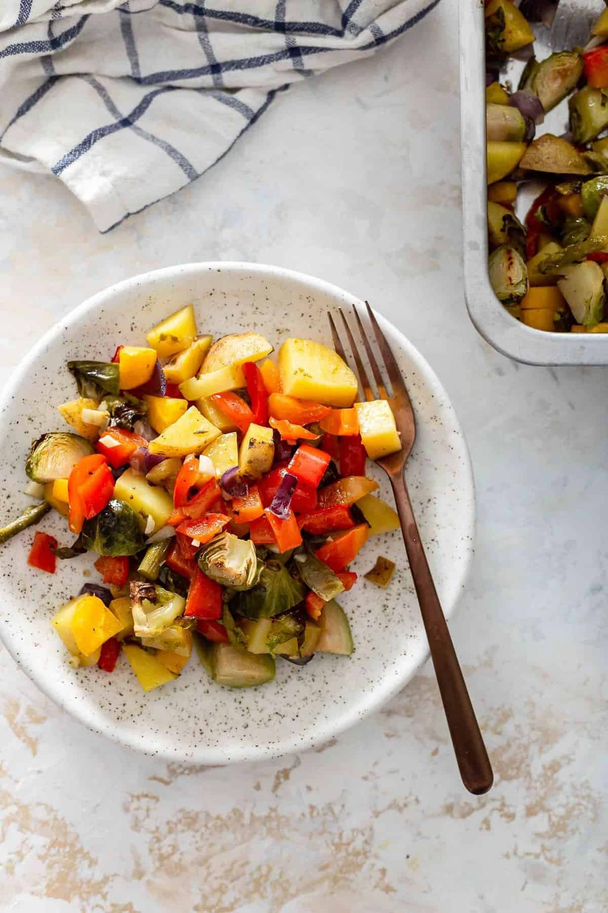 a plate full of baked vegetable mix