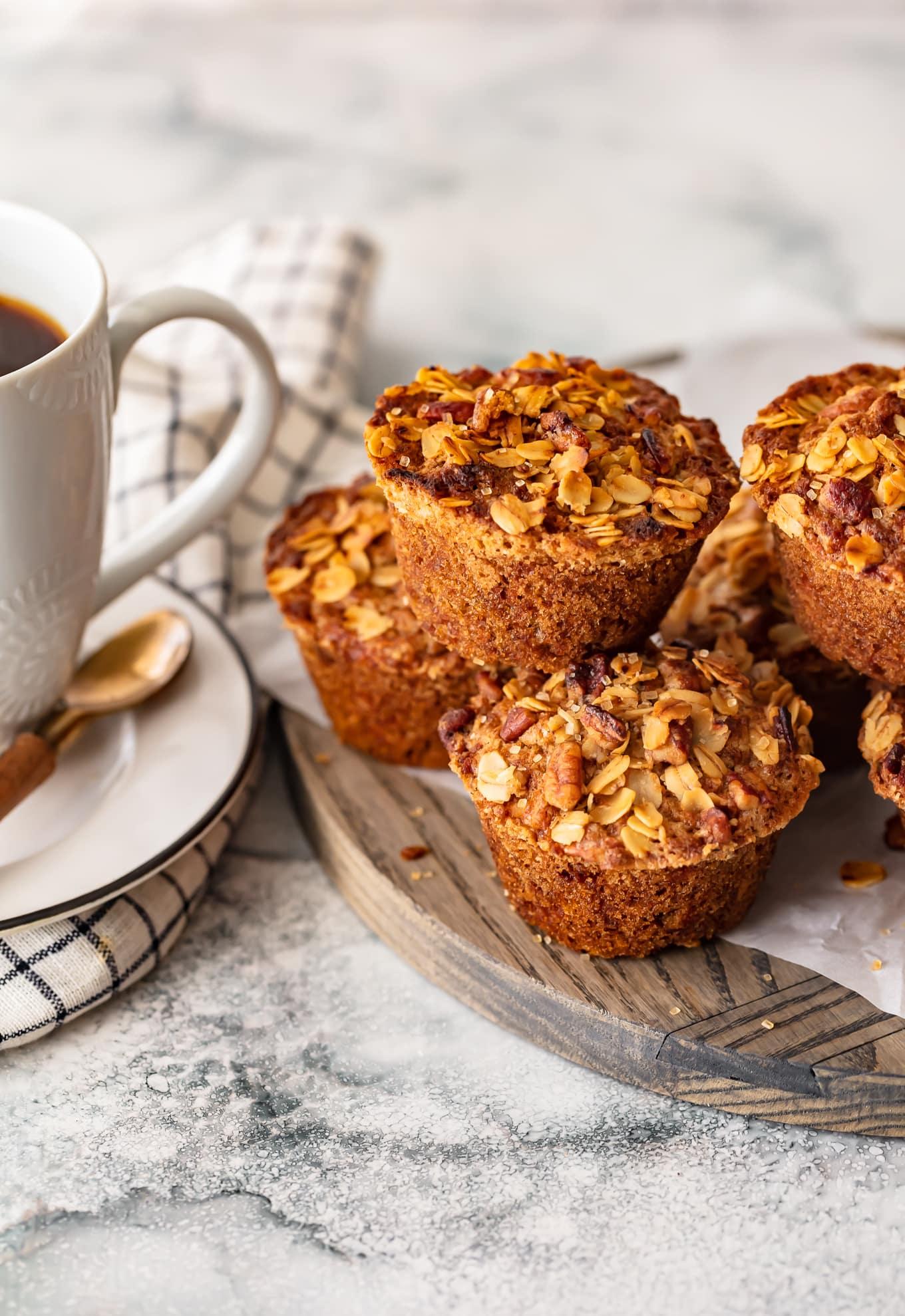 breakfast muffins on a wooden serving platter