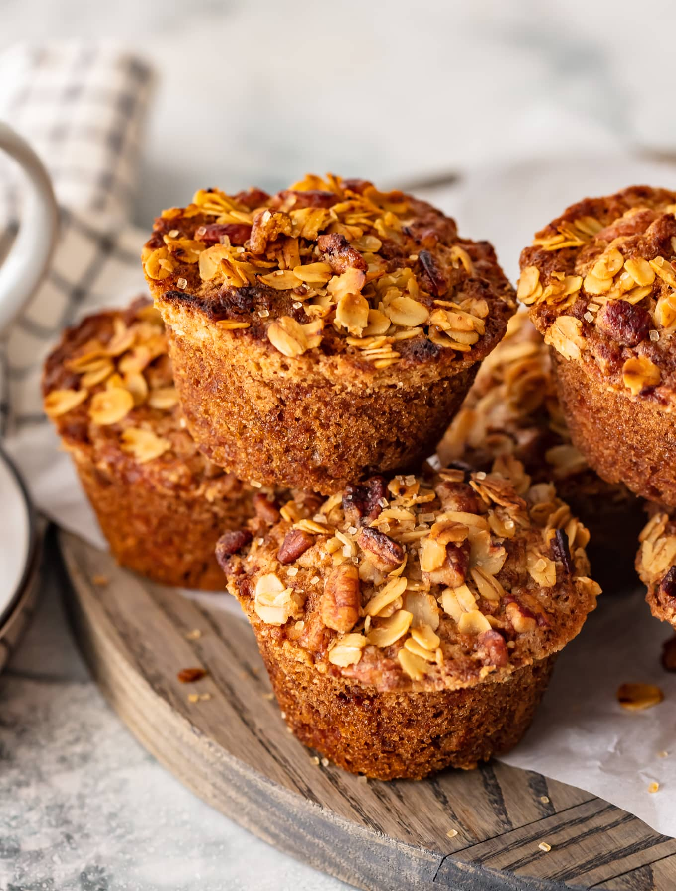 breakfast muffins topped with oats and pecans