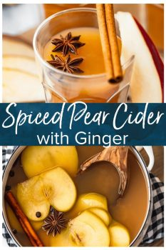Pear Cider is an awesome fall drink. This Spiced Pear Cider recipe is a blend of pear juice, apple cider, ginger liqueur, and plenty of spice! It's an alcoholic drink, but you can make a non-alcoholic version too. Warm, delicious, and perfect for the holidays!