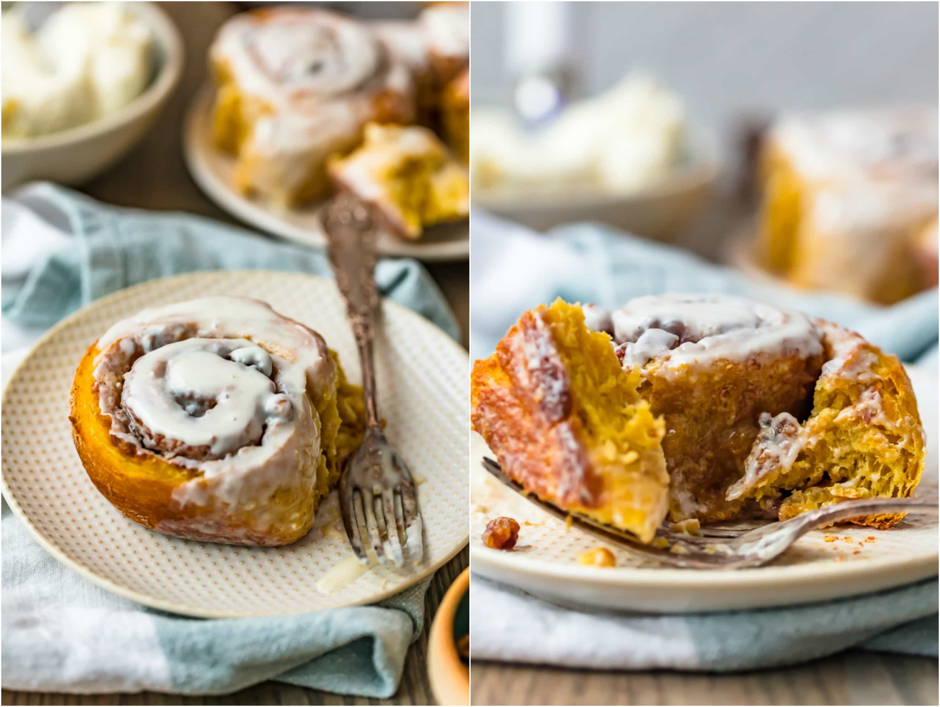 photo collage of a cinnamon roll on a white plate