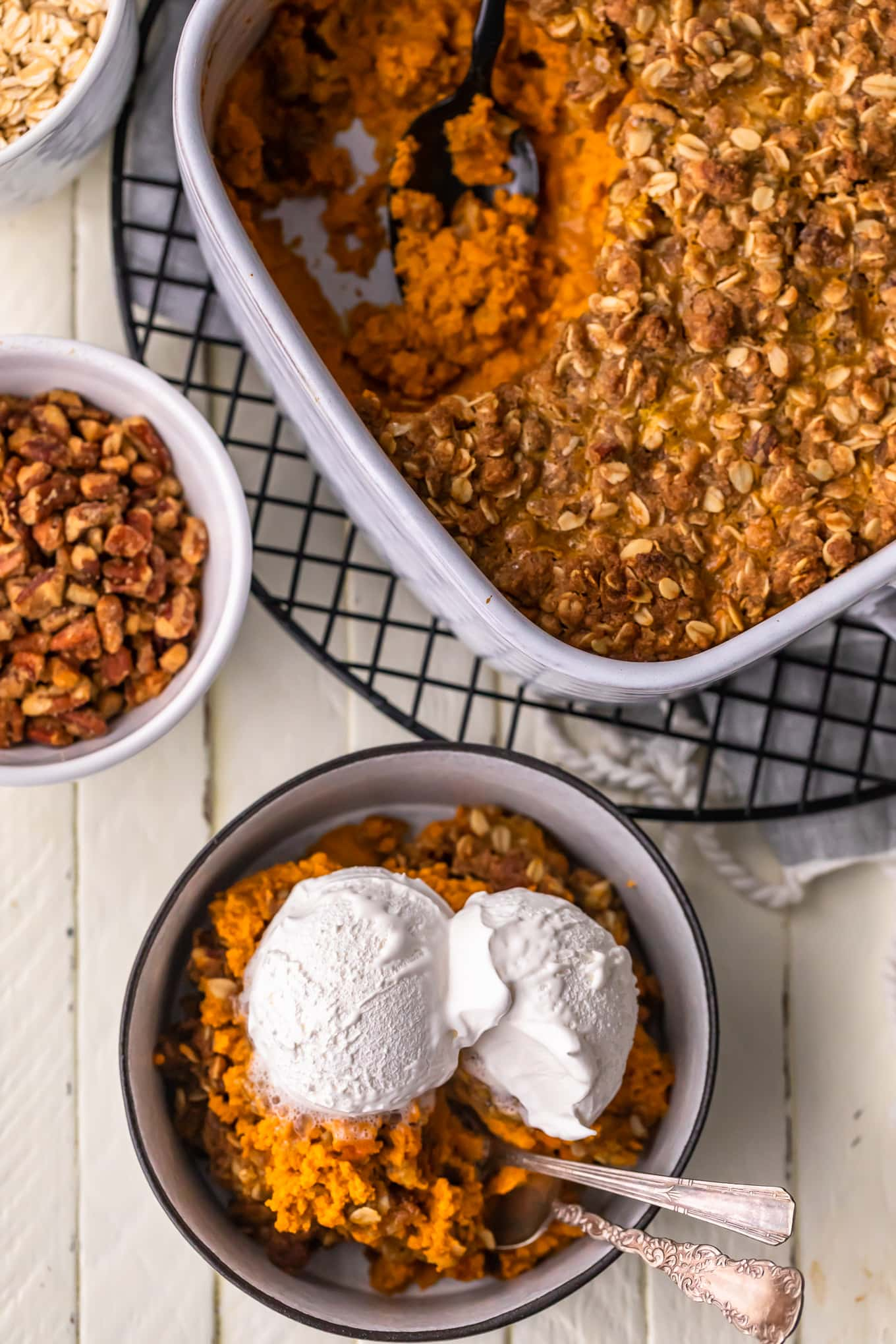 pumpkin crumble in a white baking dish