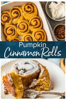 Pumpkin Cinnamon Rolls are the perfect holiday breakfast recipe for fall! It's super easy to make cinnamon rolls from scratch with this recipe. I love these for Thanksgiving, Christmas, or any weekend morning that calls for a special breakfast. And of course they're amazing for dessert too!