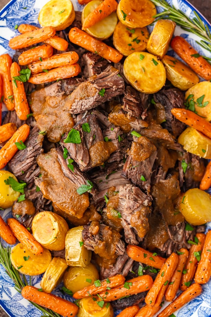 close up view of pot roast with carrots and potatoes