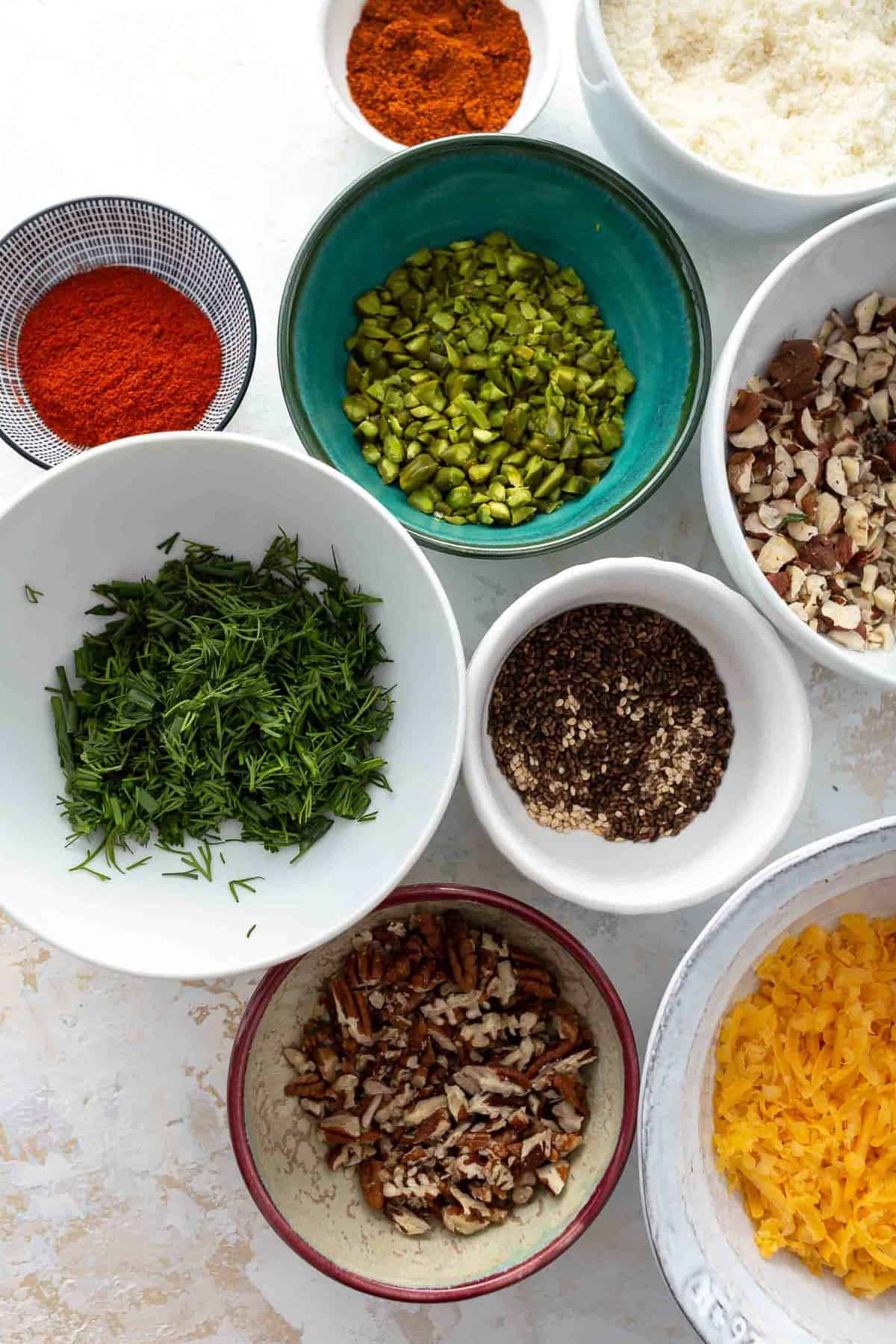 bowls of ingredients viewed from above