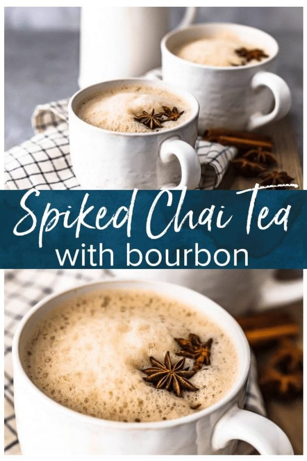 Spiked Chai is the perfect warm winter drink! This chai tea recipe is simple, delicious, and full of flavor. It's exactly what you need for Christmas parties or any chilly evening. We made it with bourbon, but it can also be made without alcohol.