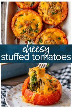 cheesy stuffed tomatoes pinterest collage